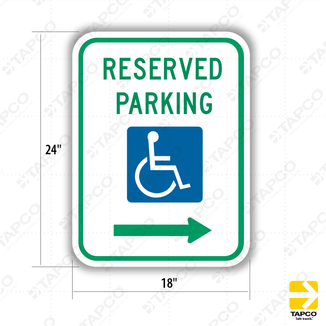Reserved Parking With Ada Handicap Symbol Right Arrow Sign R7 8r