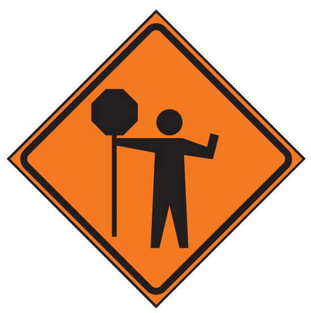 Roll-up Signface Flagger/Stop Ahead Symbol Sign | 101157 ...